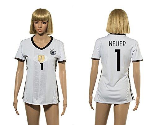 Euro CUP 2016 Germany 1# NEUER Women soccer jerseys Home short-sleeved shirt