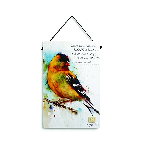 Big Sky Carvers 1 Corinthians 13:4 Goldfinch Inspirational Wall Plaque