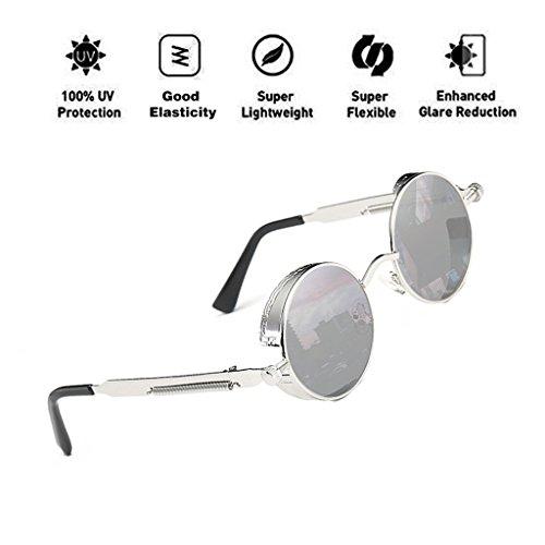 protección ATNKE tamaño de de mujeres reflectante retro lente de hombres gafas de gran gafas para metal sol marco UV400 con redondas góticas Steampunk T8 Vintage HD rwSrvqx7g