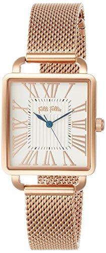 [Folli Follie] follifollie Retro cuadrado cuadrada cinturón de malla reloj (oro rosa)