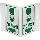 Brady 12'' X 18'' X .055'' Green On White .0551'' B-450 Polyethylene Office And Facility Sign''EYE WASH''