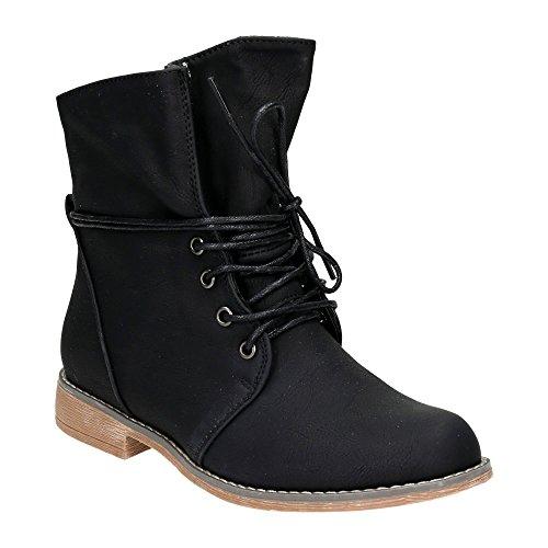 Damen Schnür Boots Stiefeletten Warm Gefüttert Stiefel Schuhe Schwarz EU 40