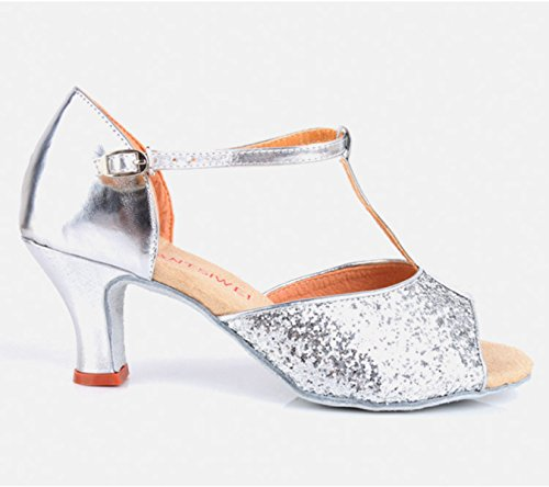 Ballroom Satin Des Schuhe Obermaterial weitere Med Mädchens Frauen Farben Sandalen Der Salsa Latin Dance Schuh Professional Silver 38 ACvwA0q