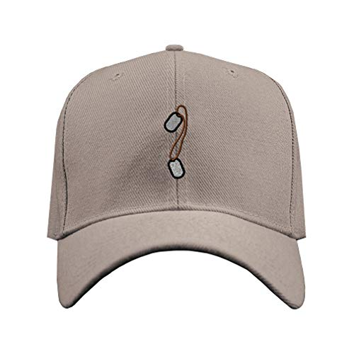 Baseball Hat Military Army Dog Tags Border Embroidery Unit Acrylic Structured Cap Hook & Loop - Gray, Design Only