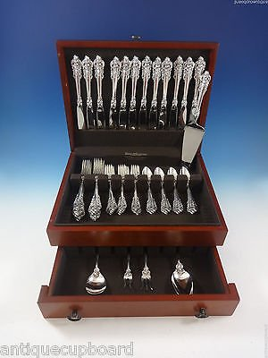 Christmas Tablescape Decor - Wallace Grande Baroque Sterling Silver 53-Pc Flatware Set, Service of 12, with 5-Pc Serving Set and Wood Storage Chest