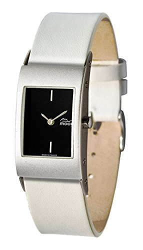 Moog Paris Dome First Women's Watch with Black Dial, Interchangable White Strap in Genuine Leather - M00011-002
