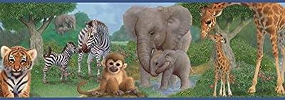 Chesapeake TOT46372B Afrique Blue Jungle Bedtime Portrait Wallpaper Border