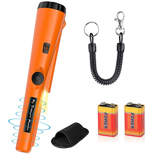 Metal Detector Pinpointer Water Resistant Handheld Pin Pointer Wand Gold Treasure Hunting Unearthing Tool Accessories with Buzzer Vibration for Kids Adults Bonus 2 Pack Battery and Belt Holster
