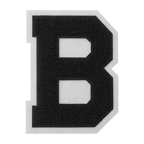 B - Black on White - 4 1/2 Inch Heat Seal/Sew On Chenille Varsity Letter