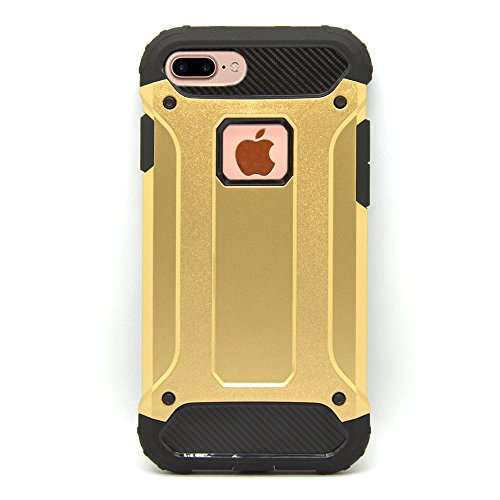 iProtect Apple iPhone 7 Plus, iPhone 8 Plus Hülle Dual Layer Hard Case stoßfeste Schutzhülle in schwarz und gold