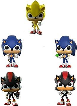 XINKANG Sonic Cartoon Juguetes 5 Unids / Set Pop Super Sonic Vinyl Dolls Sonic con Anillo / Esmeralda Shadow Collectible Model Action Figure Toys para Regalo De Cumpleaños