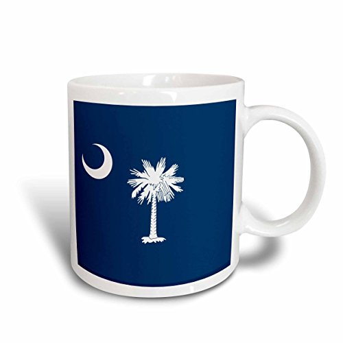 3dRose mug_158433_2 Flag of South Carolina Sc Us American United State of America USA White Palmetto Tree Indigo Blue Ceramic Mug, ()