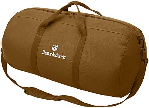 Travel Duffle Bag – Coyote Brown 30 x16 – 98.8L – Large Canvas Military and Army Cargo Style Carryall Duffel Tote for Men and Women Carry On, Gym, Hiking and Storage Shoulder Bag