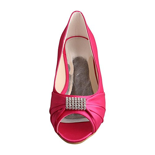 Shoes Wedopus Rhinestones Bridal Women Peep Ballet MW1361 Wedding Buckle Toe Satin Flats Fuchsia aaqw65PWxr