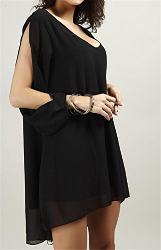 Long Cromoncent Out Chiffon High Deep Dress Black Women's Sleeve Low Cut A Line V rwxFrqWn4