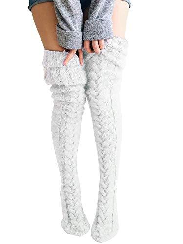 Springcmy Womens Girls Winter Cable Knit Over Knee Socks Thigh High Long Boot Socks Stocking Leg Warmer