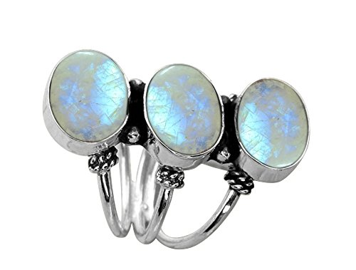 10.80ctw,Genuine Rainbow Moonstone 8x10mm Oval  .925 Silver Overlay Handmade Ring (Size-6.5)