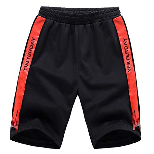 KINGOLDON Men Summer Short Fashion Word Ptinting Short Casual Sports Pathwork Outdoor Pants Red]()
