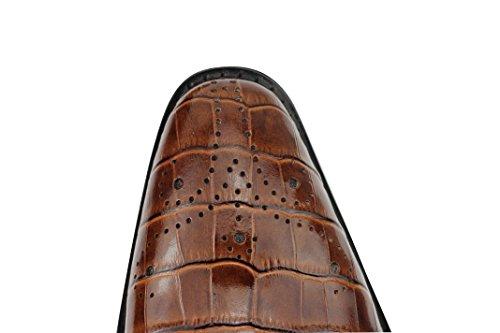 Herren Echt Leder Schwarz & Braun Mönch Strap Croc Haut Effekt Smart Slip On Schuhe Braun