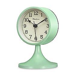 Chelvee Alarm Clock, 3 inches Quartz Analog Desk Alarm Clock, Silent No Ticking