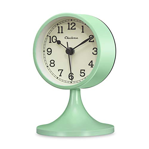 Chelvee Alarm Clock, 3 inches Quartz Analog Desk Alarm Clock, Silent No Ticking