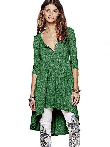 Urban CoCo Women's Half Sleeve High Low Loose Casual T-Shirt Top Tee Dress (X-Large, Green) (Buy Jade Empire)