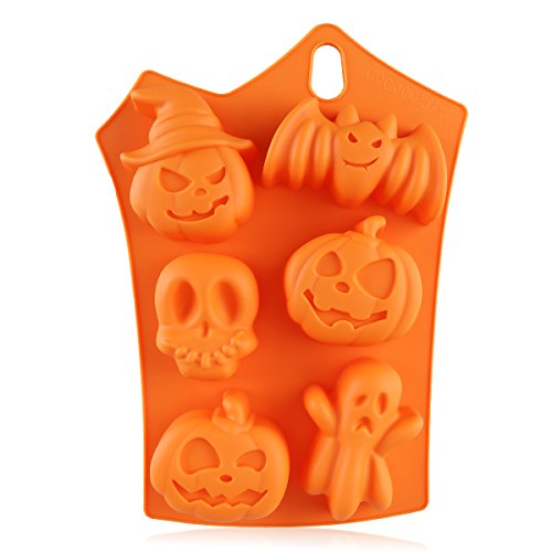 BESTONZON Halloween Silicone Mold 6 Pumpkins Cake Chocolate Fondant Candy Mold Mould Baking Mold (Orange) -