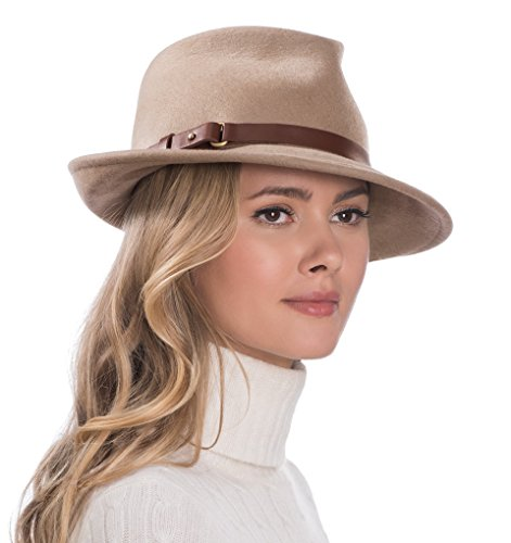 Eric Javits Luxury Fashion Designer Women's Headwear Hat - Wool Classic - Taupe by Eric Javits