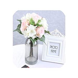 meiguiyuan 9pcs/ Lots Artificial Flowers Rose Hydrangea for Wedding Party Birthday Decoration Silk Flowers Colorful DIY Decorative Flower 76