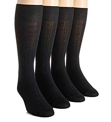 Calvin Klein Men's 4-pack Solid Ribbed Dress Socks