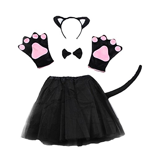 ACTLATI 6 Pcs/Set Cute Animal Headband Tail Bowtie Paws Fancy Tutu Dress Child Kids Cosplay Party Kit Black Cat -