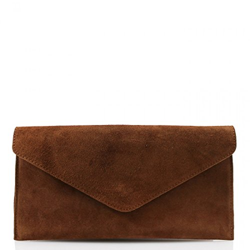Crossbody Suede Bag Wedding Designer Bag Envelope Party Leather Clutch Genuine Purse Brown Italian Handbag zqFf5UwBn