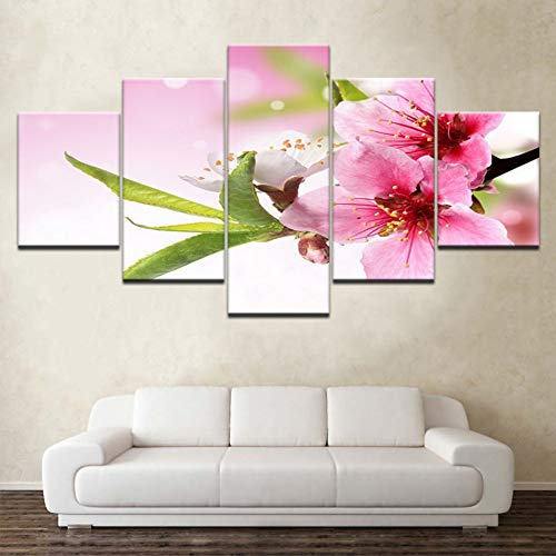 WPFZH Five Paintings National Cherry Blossom Flowers 5 Panels HD Print Wall Art Modern Modular Poster Art Canvas Painting for Living Room Home Decor-40x60 40x80 40x100cm NO Frame
