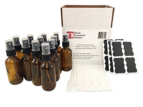 (12) 2 Ounce 2 oz Empty Amber Glass Bottles W/black Fine Mist Sparyer (12) 3ml Pipettes (12) Chalk Labels for Essential Oils, Cleaning Products, Aromatherapy