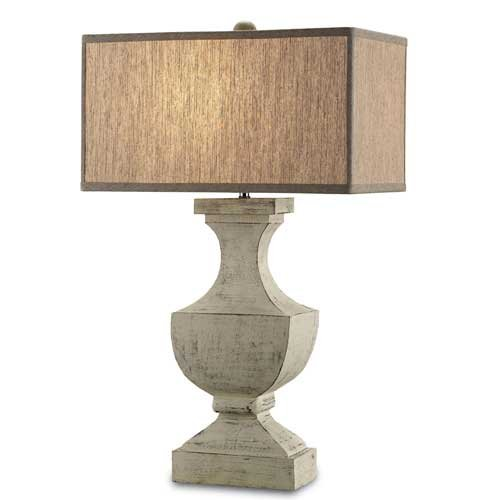 Washed Wood Table Lamp (Currey Company 6767 Table Lamps with Bone Linen Shades, Washed Buff Finished)