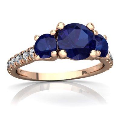 (14K Rose Gold Lab Sapphire and Diamond Round Pavé Trellis Ring - Size 7)