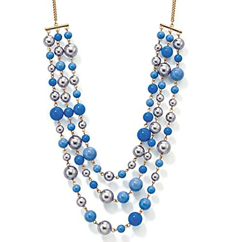 (Avon Blue Hues Multi-Strand Necklace Blue Beads & Faux Pearls)