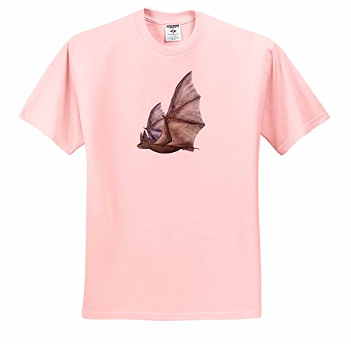 Boehm Graphics Animal - Bat from the Side with Wings Up - T-Shirts - Adult Light-Pink-T-Shirt Large (Adult Bat Wings)