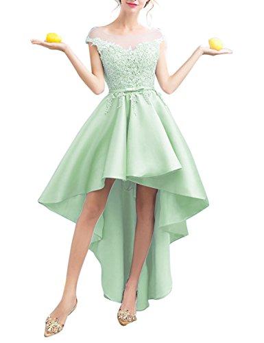 Low Dress BessWedding Women's Prom BHZ705 2018 Appliques Lace Satin Mint Dresses High Homecoming OtZr4wtq