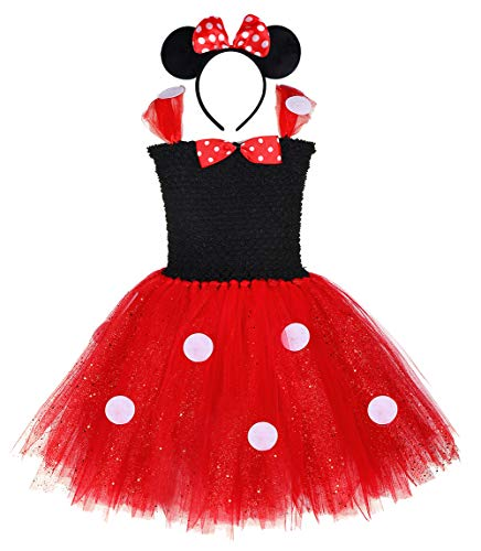 Tutu Dreams Red Minnie Outfits for Baby Girls 1st Birthday Day Fancy Princess Baptism Coronation (Small, Minnie) -