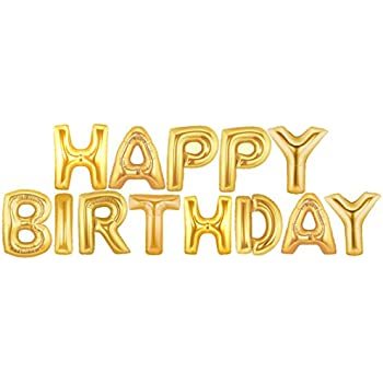 foil 14 letter balloons saying phrase word decor happy birthday gold letters
