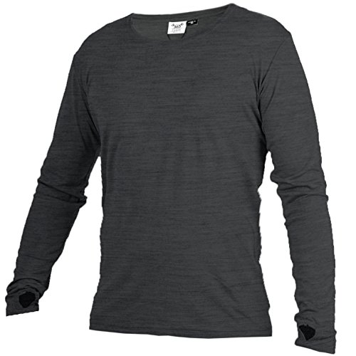 Merino 365 OG Longsleeve with Thumbloops, Mid-Weight, 230 GSM, 100% NZ Merino, XL, Charcoal (Best Merino Wool Mid Layer)