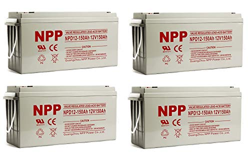 NPP NPD12-150Ah AGM Rechargeable Deep Cycle Sealed Lead Acid 12V 150Ah Battery with Button Style Terminals (4 pcs)