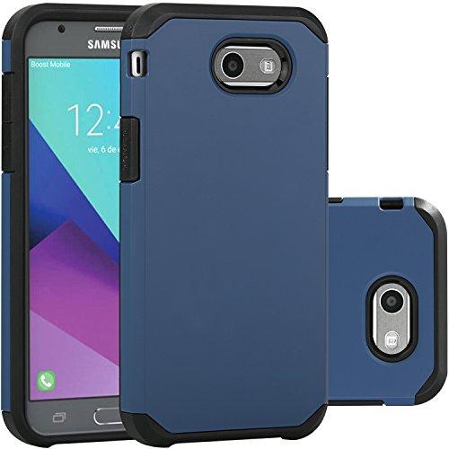 Samsung Galaxy J3 Emerge Case/J3 Prime/J3 2017/Amp Prime 2/Express Prime 2/Sol 2/J3 Luna Pro/J3 Eclipse/J3 Mission Case, LUHOURI Hybrid Armor Rugged Defender Protective Case Cover Dark Blue
