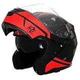 Triangle Motorcycle Helmets Modular Dual Visor Flip Up (X-Large, Matte Black/Red)