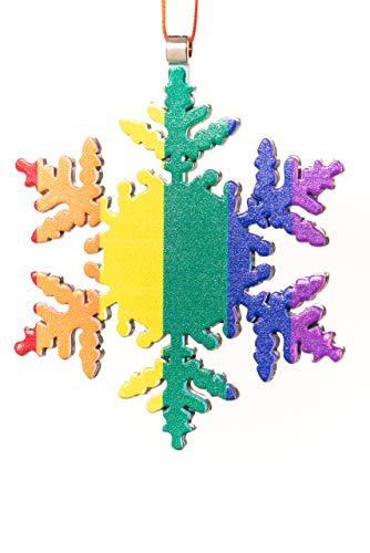 Collegiate Pulse Gay Pride Flag Snowflake Christmas ()