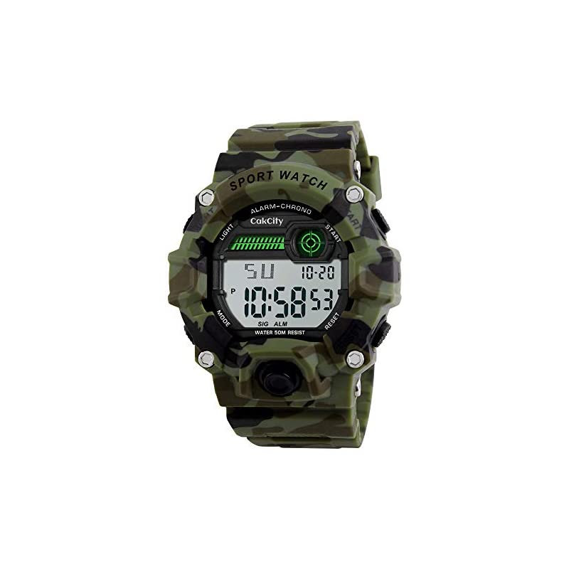 Boys Camouflage LED Sports Watch,Waterproof Digital Electronic Military Wrist Kids Watch with Silicone Band Luminous Alarm Stopwatch Watches