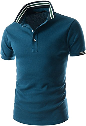 What Lees Mens Urban Casual Basic Short Sleeve Golf Polo Shirts B054-13-Navy-XXL