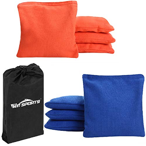 Win SPORTS Premium All-Weather Duck Cloth Cornhole Bean Bags - Set of 8 Bean Bags for Corn Hole Game - Choose Your Colors (Orange/Blue)