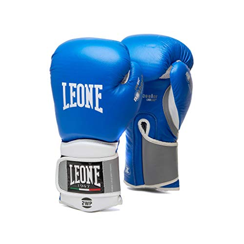 Leone 1947 Boxing Gloves Tecnico Leather MMA UFC Muay Thai Kick Boxing K1  Training Punching Gloves (Blue, 10oz)